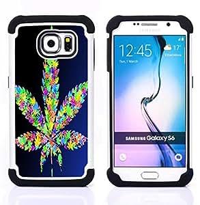 /Skull Market/ - Weed weed hipter quote Marijuana Kush Weed For Samsung Galaxy S6 G9200 - 3in1 h????brido prueba de choques de impacto resistente goma Combo pesada cubierta de la caja protec -