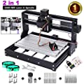 2 in-1 5500MW Laser Engraver CNC 3018 Pro Engraving Machine, GRBL Control 3 Axis DIY Mini CNC Machine Wood Router Engraver with Offline Controller + ER11 Extension Rod + End Mill Bits for PCB Wood