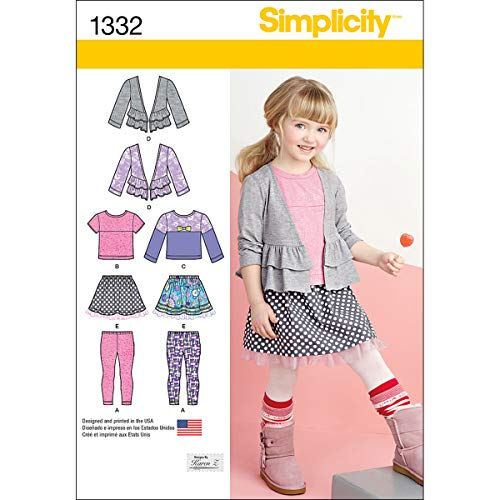 Simplicity 1332 Girl's Skirt, Knit Leggings, and Cardigan Sewing Pattern by Karen Z, Sizes ()