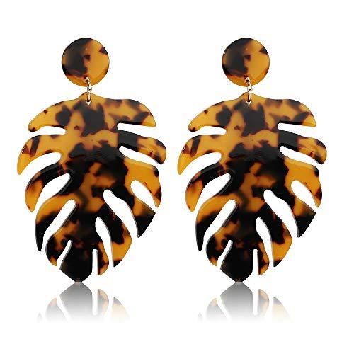 Acrylic Earrings for Women Drop Dangle Leaf Earrings Resin Minimalist Bohemian Statement Jewelry (Acrylic earrings Long Leopard)