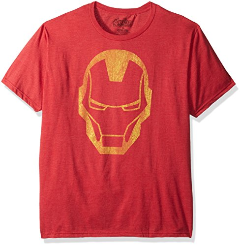 Marvel Men's Iron Man Face Print T-Shirt, Red Heather, Small