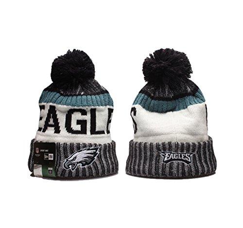 New Era NFL Team Logo Sport Knit Beanie with Pom (Philadelphia Eagles61, One (Team Knit Beanie)