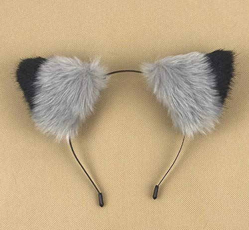 Happylifehere Long Fur Cat Fox Ears Headband Hairband Lolita Cosplay Costume Halloween Kitty Fancy Dress Black with Gray ()