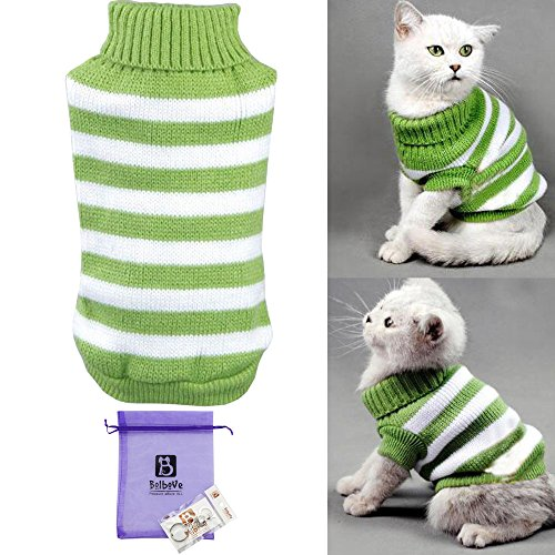 Bolbove Pet Stripes Turtleneck Sweater for Small Dogs & Cats Knitwear Cold Weather Outfit (Green, (Cats In Outfits)