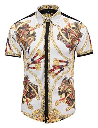 PIZOFF Mens Luxury Short Sleeve Gold Chain Florlal Button Down Dress Shirt AL003-37-L