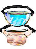 Boao 2 Pieces Fanny Holographic Packs Shiny Waist Bag Fashion Bum Bag with Adjustable Belt for Women (Champagne Gold and Transparent)