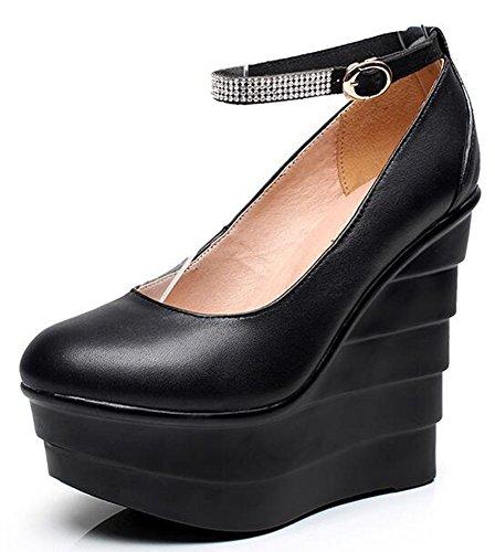 Chfso Donna Elegante Strass Punta Tonda Cinturino Alla Caviglia Alta Sandalo Con Zeppa Piattaforma Sandali Neri