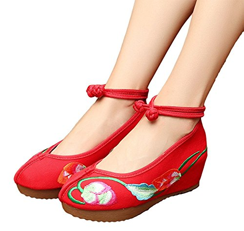 AvaCostume Women Flowers Embroidery Platform Wedge Ankle Button Shoes Red