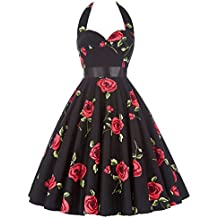 GRACE KARIN Women Vintage 1950s Halter Cocktail Party Swing Dress Sash