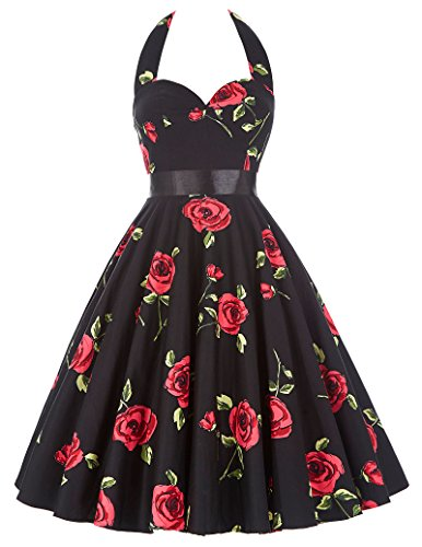 50s Dancing Swing Dress Halter Neck Vintage Floral Dress for Women 75-28, L -