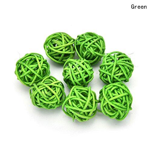 10 Pieces/Set Rattan Wicker Ball Decoration Ornaments Wedding Christmas Party Table Desk Garden Hanging (Light Green Ball Ornament)