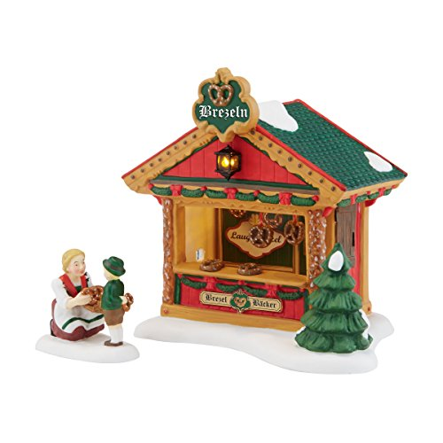 Department 56 Alpine Village Christmas Market The Pretzel Booth Accessory Figurine, 4.72 inch