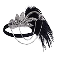 BABEYOND 1920s Flapper Headband Roaring 20s Great Gatsby Feather Headpiece