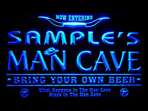 pb-tm-b Man Cave Name Personalized Custom Game Room Cowboys Bar Beer LED Neon Sign Blue 16