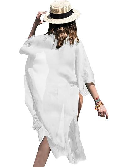 e3b8568cfb9 Minetom Mujeres Verano Atractivo Pareos Bikini Trajes de Baño Gasa Kimono  Cardigan Fundas de Playa Blanco