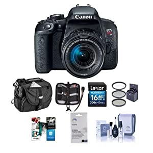 Canon EOS Rebel T7i DSLR with EF-S 18-55mm f/4-5.6 IS STM Lens - Bundle With Camera Case, 16GB SDHC Card, 58mm Filter Kit, Screen Protector, Cleaning Kit, Memory Wallet, Software Package