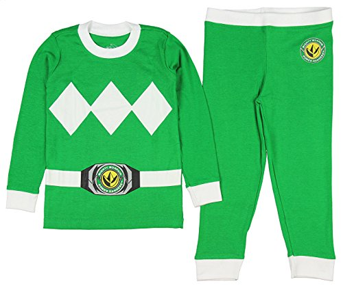INTIMO Kids Mighty Morphin Power Rangers Costume Pajama Set (Green, 10) ()