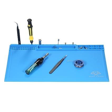 KKmoon tapete antiestático de silicona mate para trabajos de soldadura con compartimentos para tornillos, 380