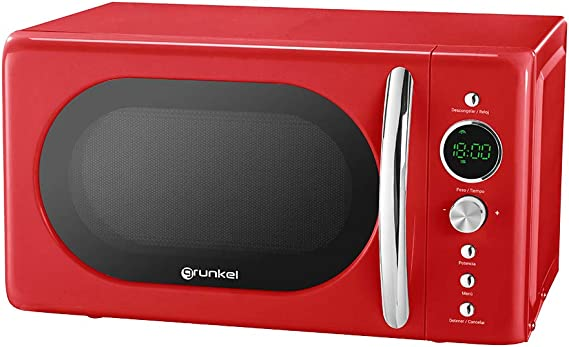 Grunkel - MW-DG R - Microondas Digital de 20l de Capacidad con diseño Vintage y 6 Niveles de Potencia. Función cocción rápida y Temporizador hasta 60 min - 700W - Rojo: Amazon.es: Hogar