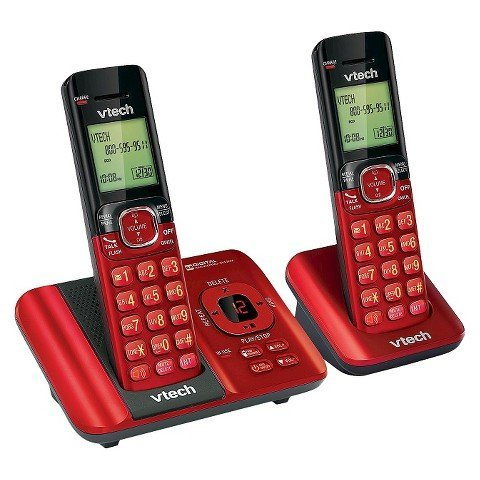 VTech CS6929-26 DECT 6.0 Expandable Cordless Phone System with Answering Machine, 2 Handsets - Red