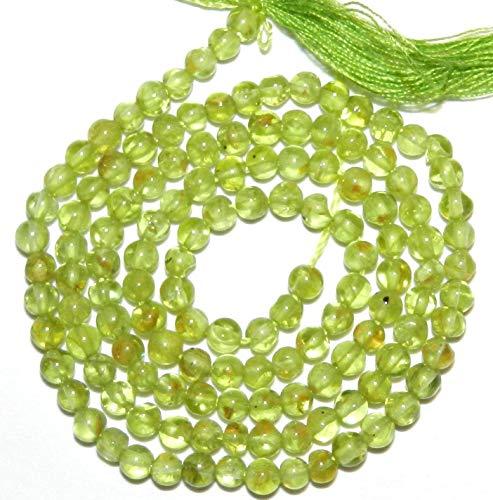 Bead Jewelry Making Green 3mm Round Hand-Cut Peridot Gemstone Spacer Beads 15