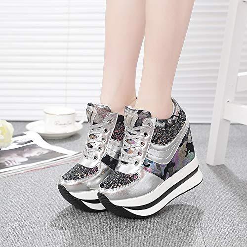 Comfort Silver de Zapatos Flat Pink Heel Mujer Sneakers Silver ZHZNVX PU Summer Black Poliuretano YTOwp