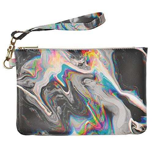 Lex Altern Makeup Bag 9.5 x 6 inch Abstract Glitch Art Black Rainbow Holographic Paint Trippy Case Toiletry Women Zipper Organizer Storage Girly Design Print Purse Pouch Cosmetic Travel PU Leather