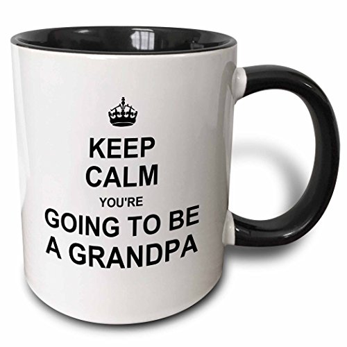 3dRose Keep Calm Youre Going to be A Grandpa Future Grandfather Text Gift Two Tone Black Mug, 11 oz, Black/White