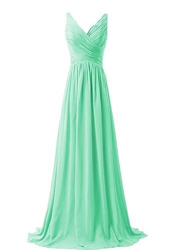 KARMA PROM Women's Chiffon V-neck Sleeveless Prom Dress Simple Bridesmaid Dress