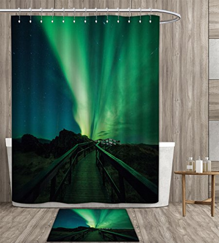 familytaste Aurora Borealis Shower Curtain customize Wooden Bridge Solar Sky Scenic Radiant Rays Arctic Magic Scenery Fabric Bathroom Set with Metal hook 72x72 inch Fern Green Dark Blue gift bath rug by familytaste