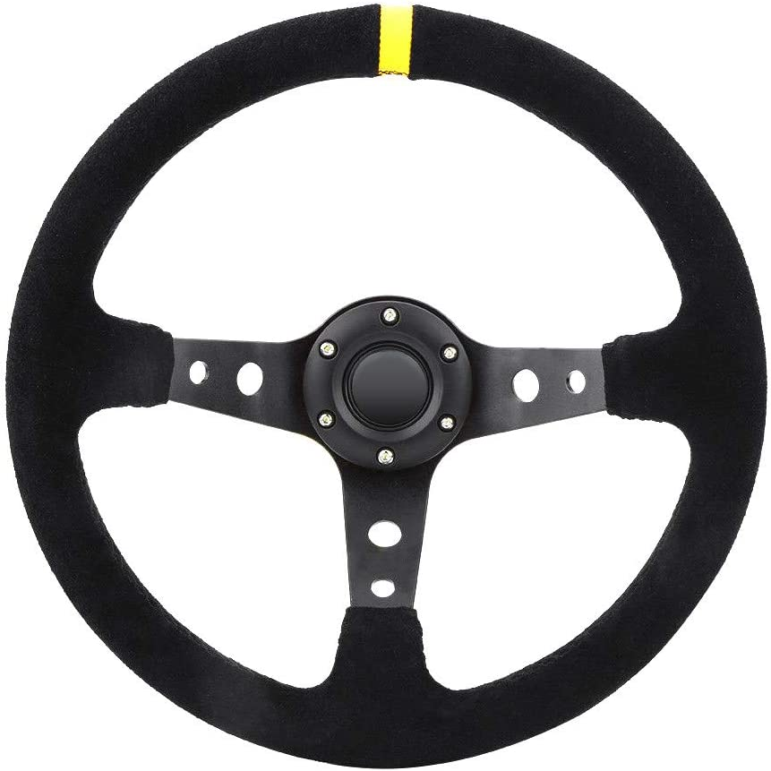 Ama-store Automotive Steering Wheels 350mm Deep Dish 6 Bolt For JDM Sport Racing Steering Wheel Suede Horn Button