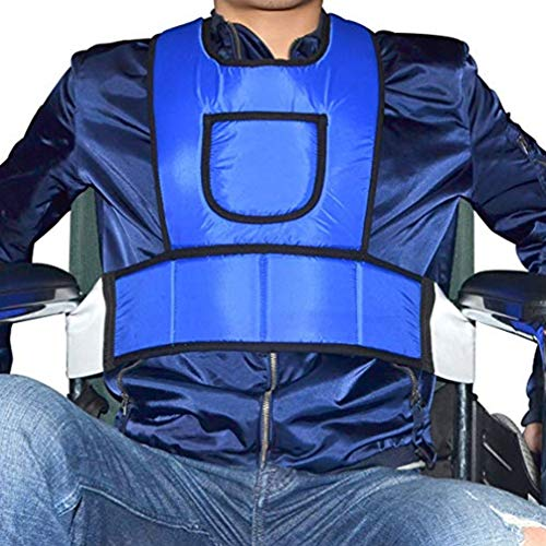 YAOBAO Criss Cross Chest Vest Restraint for Use with Bed or Chair Prefer wheelchairs Patients (Blue),M