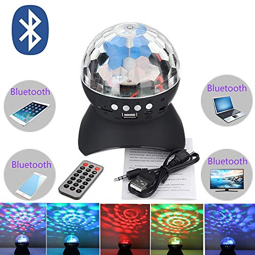 (YARKOR Disco Ball Party with Bluetooth Speaker, DJ lights with Remote Control for Party and Family Gathering,Colourful,Wonderful,Mini Led Stage Lights(with)