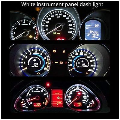 Wljh T10 Led Interior Lights Car Gauge Dashboard Dash Light Instrument Cluster Panel W5W 2825 194 Led Bulb Twist Socket Pc195 Pc194 Pc168 Super Bright 12V (White,Pack Of 6): Automotive