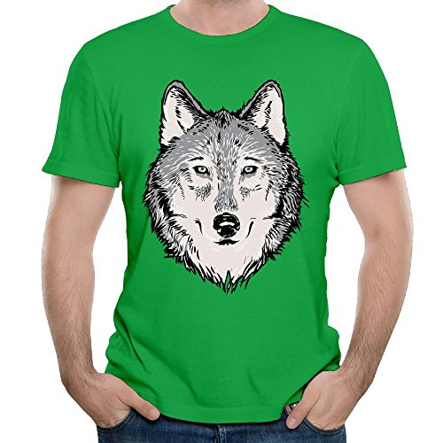 Price comparison product image Wolf Illustration Men's Short Sleeve Top Tee Humor Graphic Summer Youth T-shirt KellyGreen Size XXL