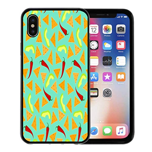 Emvency Phone Case for Apple iPhone Xs Case/iPhone X Case,Colorful Bright Nachos Avocado and Chili Pepper on Blue Soft Rubber Border Decorative, Black ()