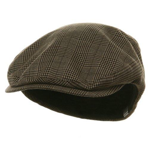 Big Size Elastic Plaid Fashion Ivy Cap - Brown OSFM (E4hats Plaid Hat)