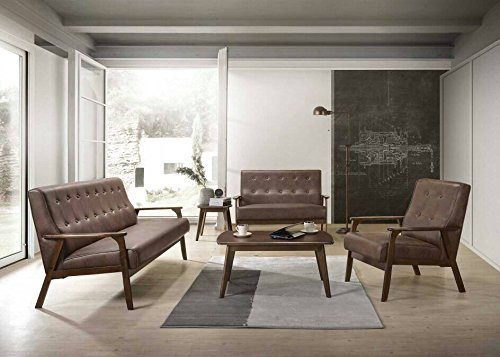 AS Quality 3 pcs Couch 3 Modern Sets for Living Room Clearance 3 Sofa, Love Seat, Single Armchair (Cherry Leather Loveseat)