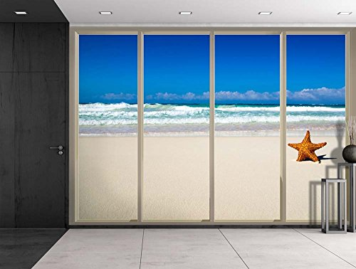 Starfish Overlooking the Ocean Waves at the Shore Viewed From Sliding Door Creative Wall Mural Peel and Stick Wallpaper