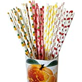 Fzopo Fruit Patterned Paper Drinking Straws for Birthday Wedding Decorative Party Supplies Creative Drinking Straws,Disposable Biodegradable,7.75 Inches Pack of 125