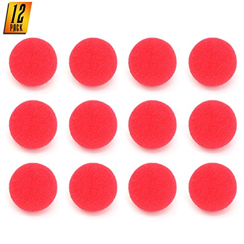 Skeleteen Red Carnival Clown Noses - Red Sponge Nose for Circus Costume Party Supplies - 12 Pieces ()