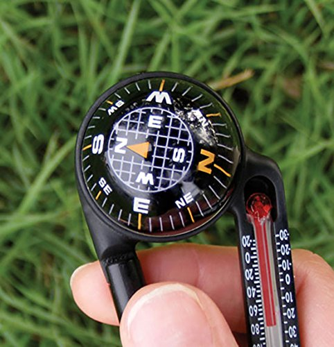 Sun Company TempaComp Ball Compass and Thermometer Carabiner | Hiking, Backpacking, and Camping Accessory | Clip On to Pack, Parka, or Jacket