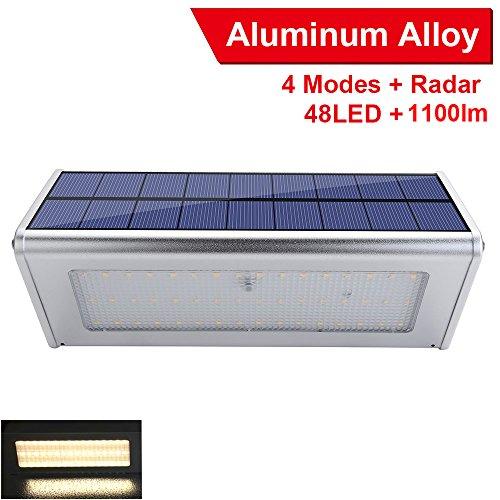 Cheap LexonElec Solar Lights Outdoor 48 LED 1100 Lumens Waterproof Aluminum Alloy Radar Motion Sensor Light 4 Lighting Modes for Wall, Patio, Deck, Yard, Garden, Path, Driveway, Stairs (4000k Warm Light)