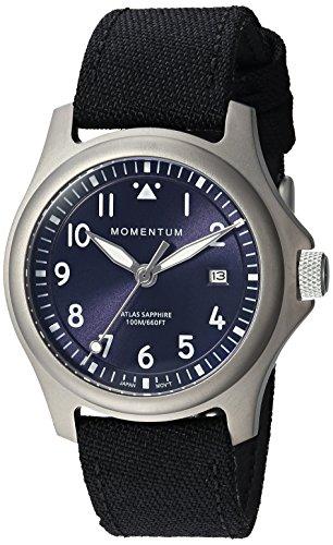 - Momentum Men's Atlas 38 Titanium Quartz Watch with Canvas Strap, Black, 20 (Model: 1M-SP00US6B)