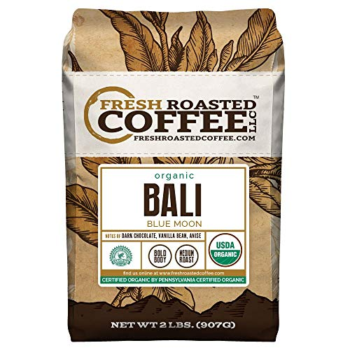 Fresh Roasted Coffee LLC, Organic Bali Blue Moon Coffee, Medium Roast, Whole Bean, 2 Pound Bag