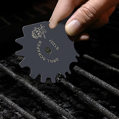 Stainless Steel BBQ Grill Scraper with Long Handle Effective Cleaning of BBQ Grate Grills with Bottle Opener and Griddle Cleaner Include S-Hook - Safer Than A Wire Brush-Deep Gray