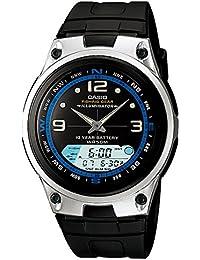 Men's AW82-1AV Black Resin Quartz Watch with Black Dial