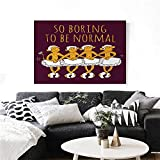 """homehot Animal Wall Paintings Funny Ballerina Dancing Monkeys with So Boring to Be Normal Quote Print Print On Canvas for Wall Decor 28""""x20"""" Maroon and Marigold"""