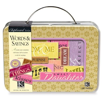 Chipboard To Go Words & Sayings Tin-Over 80 Words & - Words Chipboard
