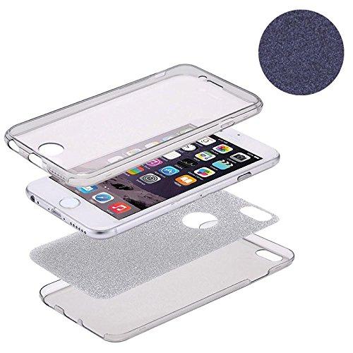 König-Shop Full TPU Case für Apple iPhone 5 / 5s / SE Schutz Hülle Handy Glitzer Cover Schwarz
